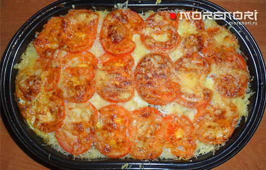 Морской язык запеченный с рисом и помидорами