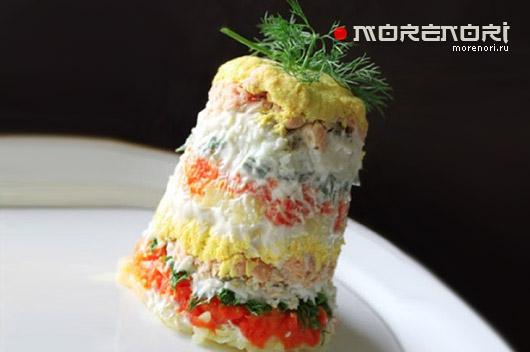 многослойный салат из лосося