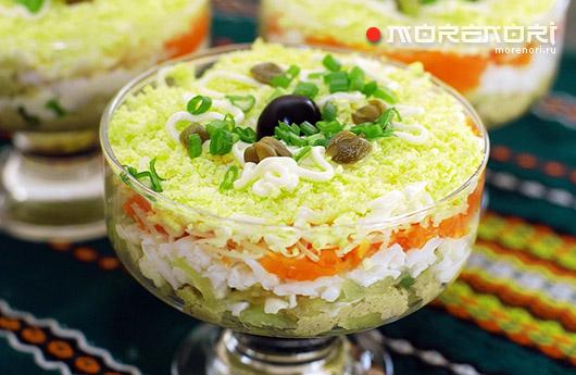 Многослойный салат из печени трески
