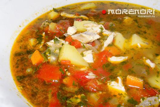 Красный суп из скумбрии