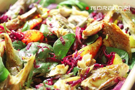 Салат из скумбрии и свеклы