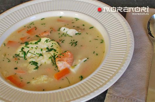 Сливочный суп из семги и трески по-норвежски