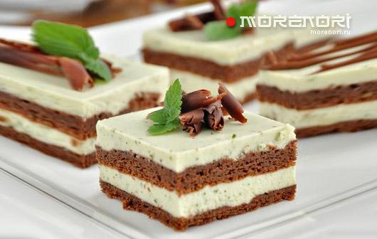 Шоколадный торт с мятным кремом