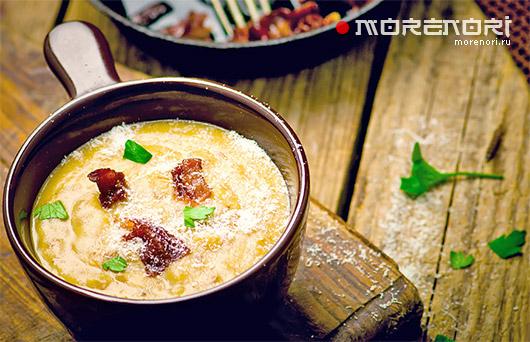 Суп из трески с беконом и картофелем