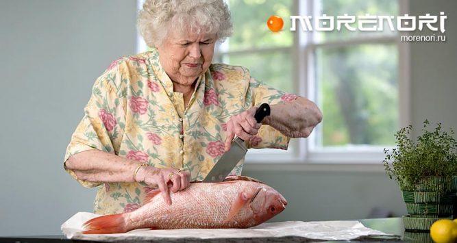 разделка живой рыбы